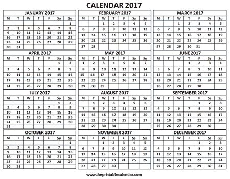 2017 yearly calendar printable landscape 2017 calendar 12 months calendar on one page free