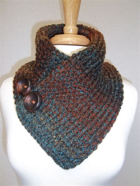 free knitting patterns neck warmers cowls knitted neck warmer rust turquoise brown buttoned scarf