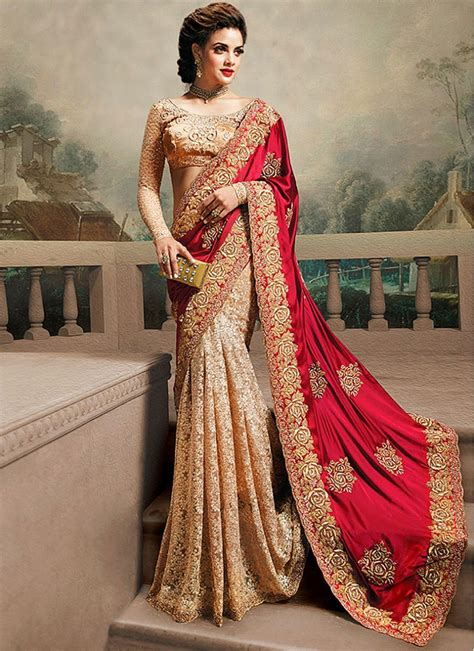 designer pics party wear reception and wedding beige and red designer