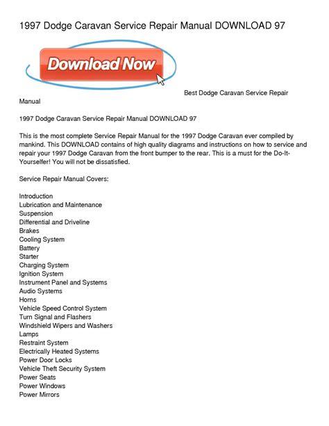 how to download repair manuals 1993 dodge caravan lane departure warning calam 233 o 1997 dodge caravan service repair manual download 97