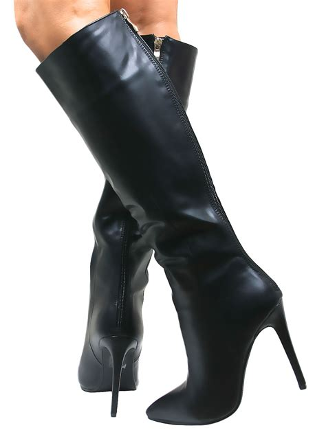 high heel boot shoes stiletto heel womens knee high pointed boots