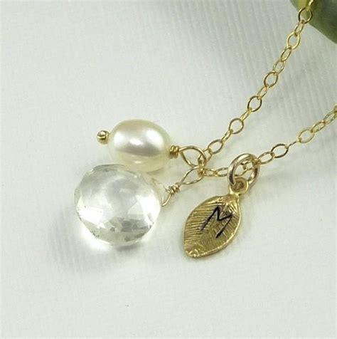 Handmade Wedding Jewelry - personalized jewelry gemstone initial leaf pearl charm