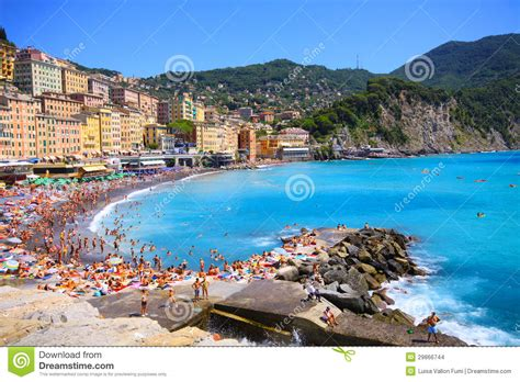 Camogli   Italy, People Enjoy The Beach Editorial Stock