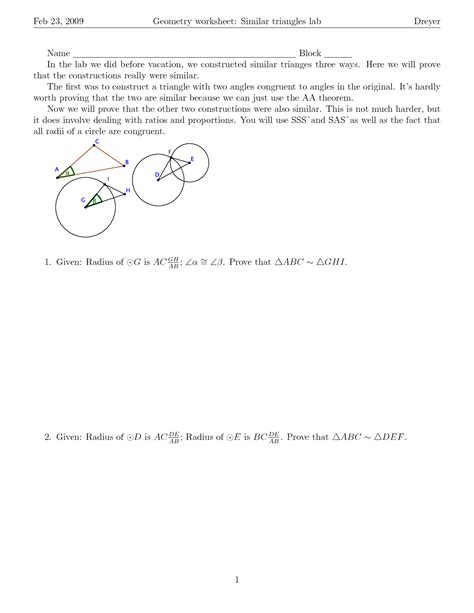 Proving Triangles Similar Worksheet Answers