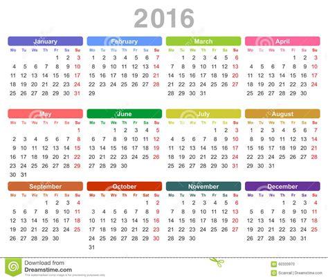 Calendrier 2017 Avec Numéro De Semaine Vacances Scolaires Calendario Anual De 2016 A 241 Os Lunes Primero Ingleses