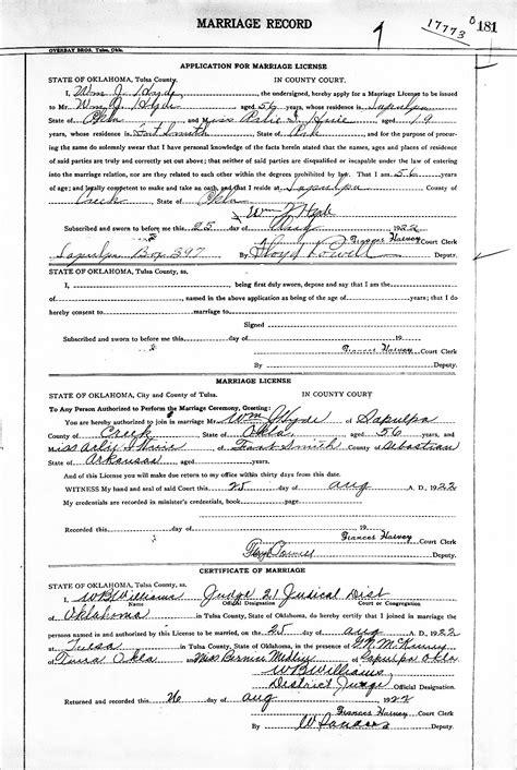 Marriage License Records Tulsa Ok William Justice Hyde