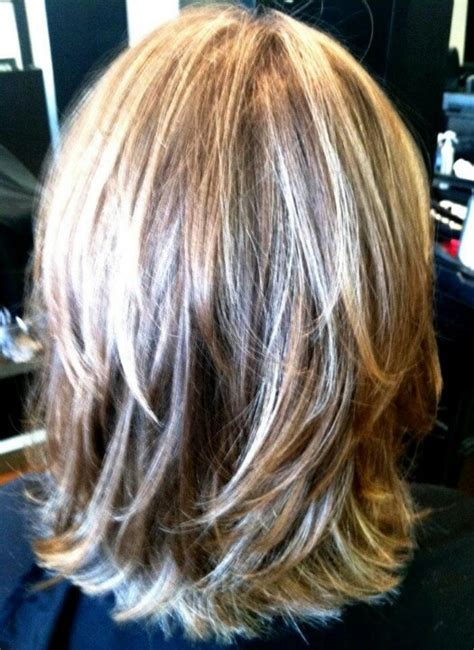 mid length layered ends back stacked medium bob haircut for fine hair back view short
