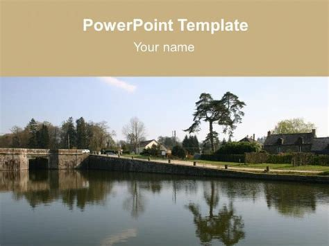 powerpoint themes river bridge over a river template