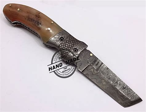 Handcrafted Pocket Knives - damascus folding liner lock knife custom handmade damascus