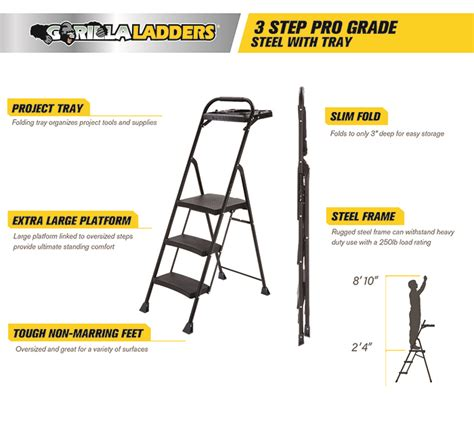 Easy Reach Project Stool by Gorilla Ladders 3 Step Steel Step Stool Pro Grade Project