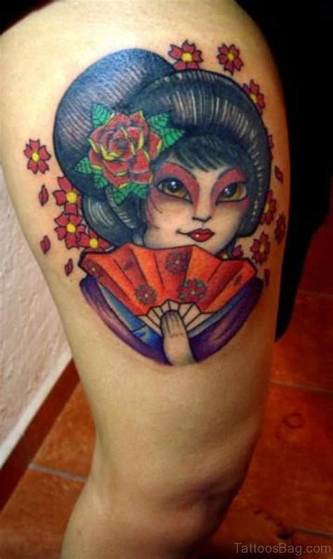 geisha tattoo on thigh 42 impressive geisha tattoos for thigh