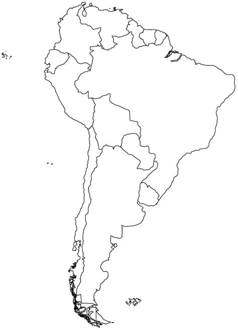 south america outline map outlibe map of south america