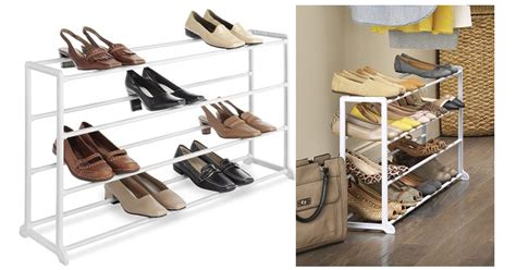 whitmor white 20 pair shoe rack storage organizer holder whitmor 4 tier 20 pair shoe rack only 9 68 super