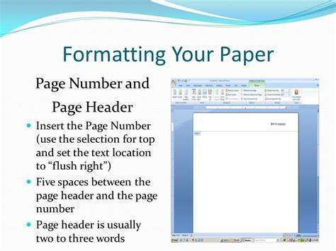 format html page apa research paper page numbers
