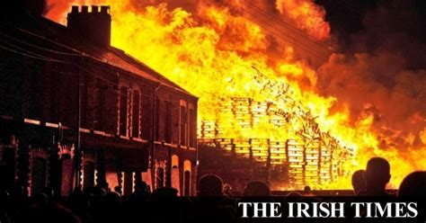 irish times jobs section fire crews protect belfast homes from major bonfire