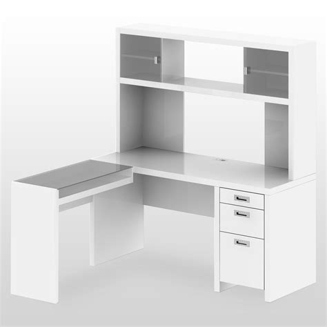 furniture l shaped white wooden corner desk with hutch and shelves also drawers with steel