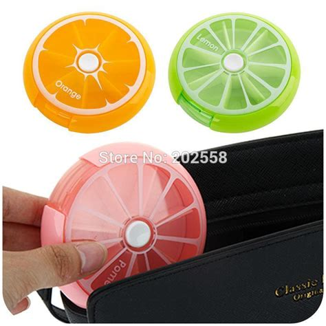 Portable Circle 7 Grid Small Boxes New Portable Fruit Style 7 Grid Seal Rotation Storage Cases Jewelry Box Storage Box