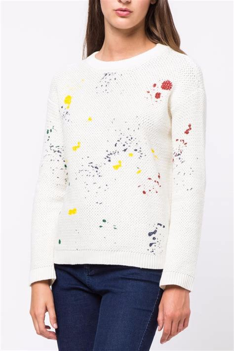 White Color Paint Sweater movint paint splatter sweater from soho by mo vint shoptiques