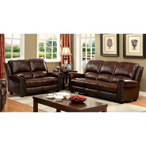Matching Living Room Furniture Sets Furniture Of America Mattice 2 Top Grain Leather