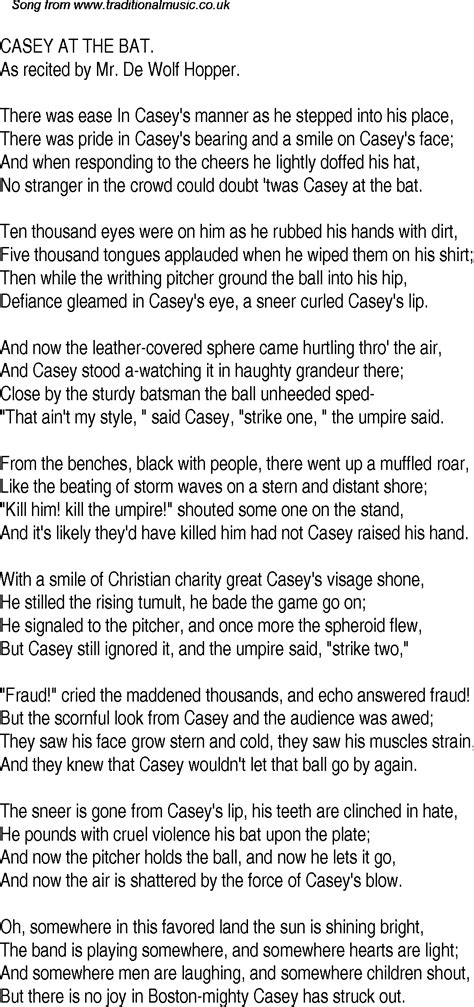 printable version of casey at the bat old time song lyrics for 23 casey at the bat
