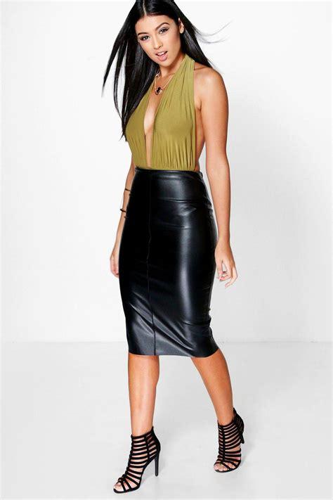 boohoo womens loren leather look midi skirt ebay