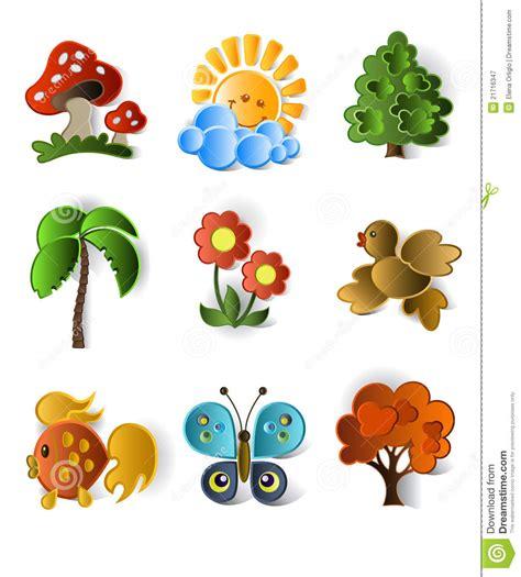 imagenes animales y plantas iconos de plantas y de animales fotograf 237 a de archivo