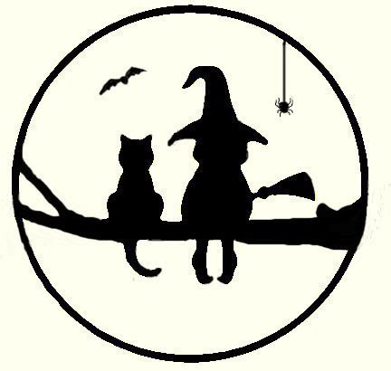 witch pumpkin template witch and cat in tree for copper overlay on moon got the