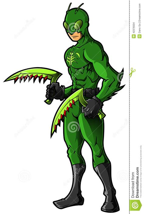 green insect superhero or villian stock illustration