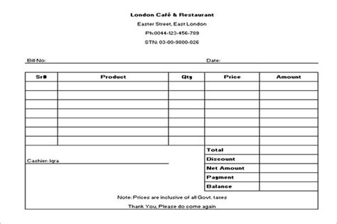 Restaurant Receipt Template Doc by 20 Restaurant Receipt Templates Free Word Pdf Doc Exles