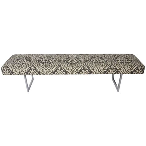 ikat bench mid century long bench with ikat print in the style of