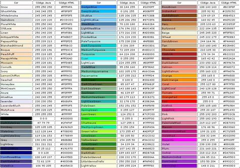 colores html margsi dessigns carta de colores