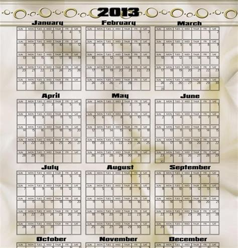 yearly calendar template photoshop photography blography 2013 yearly calendar template for
