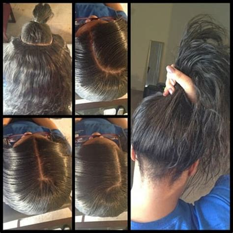 partial short weaves partial sew in weave ponytail yelp