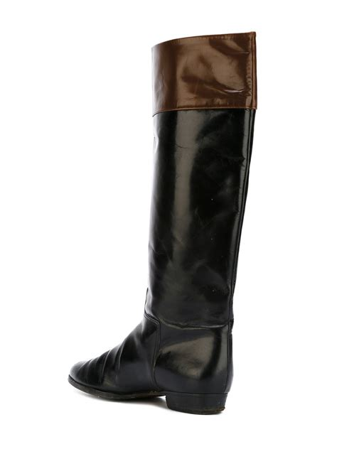 prada flat leather knee high boots in brown lyst