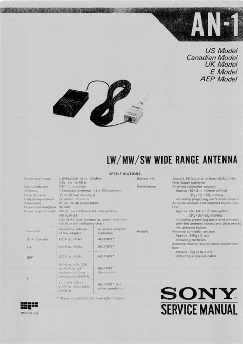 SONY AN-1 Service Manual - PDF File Download