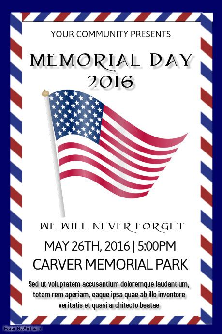 Copy Of Memorial Day Postermywall Closure Flyer Template