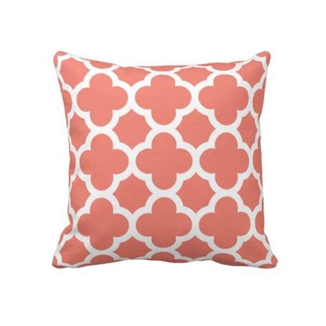 Coral Toss Pillows by Coral Quatrefoil Throw Pillow