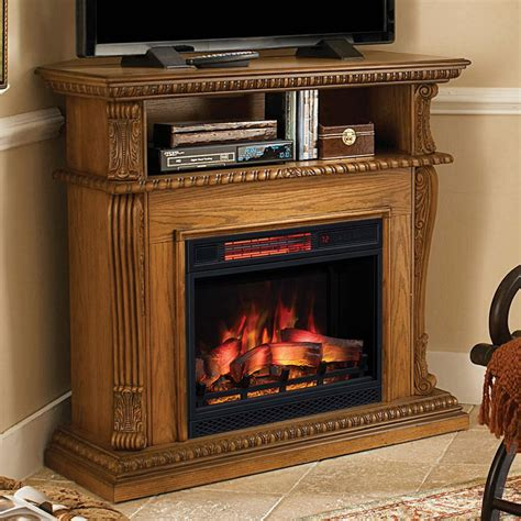 corinth infrared electric fireplace media console in oak