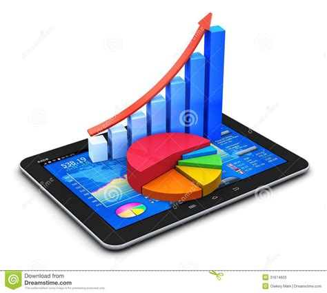 mobile finance and statistics concept stock photos image