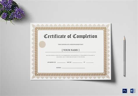 Bachelor Degree Completion Certificate Design Template In Psd Word Bachelor Degree Template Free