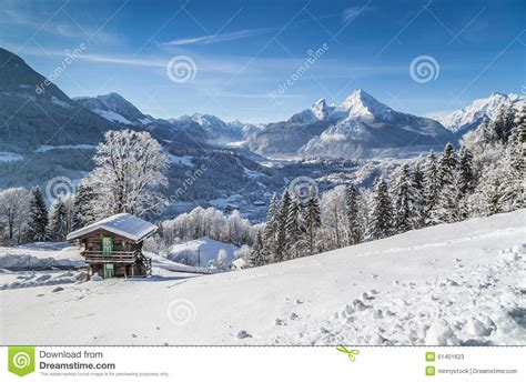 Vacation Cabin Plans idyllic winter landscape in the alps with mountain lodge