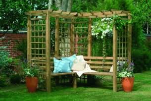 Garden Bench With Trellis 4 Seater Corner Wooden Garden Arbour Pagoda Trellis