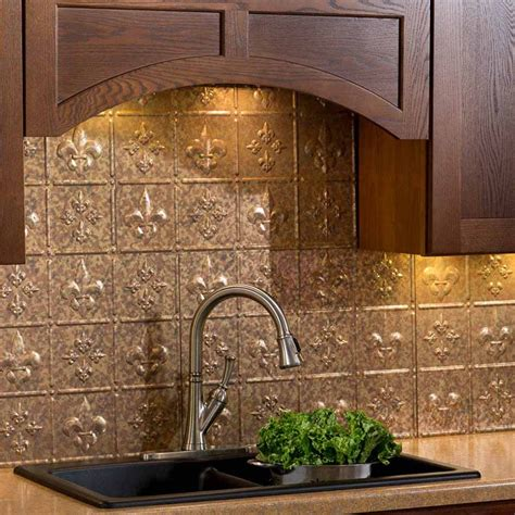 fasade backsplash fleur de lis in cracked copper
