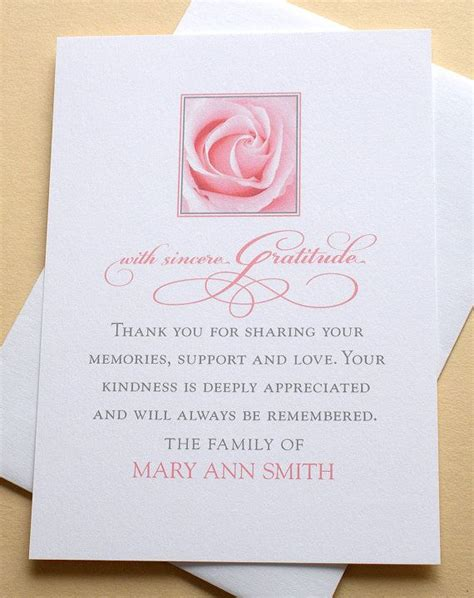 funeral thank you note best 25 funeral thank you notes ideas on