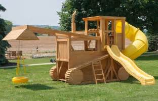 Kids Backyard Playground by Amish Made 23x12 Ft Bulldozer And Backhoe Playground Set
