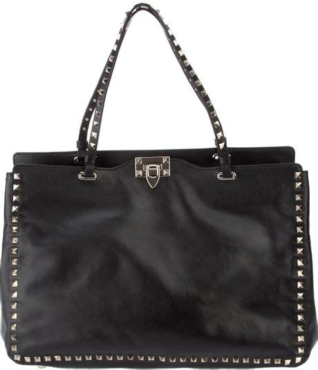 Valentino Studded Tote by Valentino Studded Leather Tote In Black Lyst