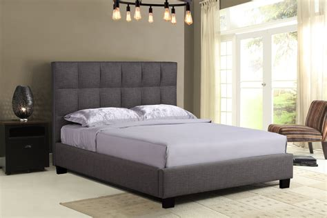 King Bed Frame Gray Padded Bed Frame Velago Saverne Grey Upholstered King