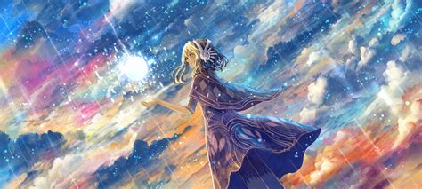 artwork fantasy art anime magic stars clouds sky