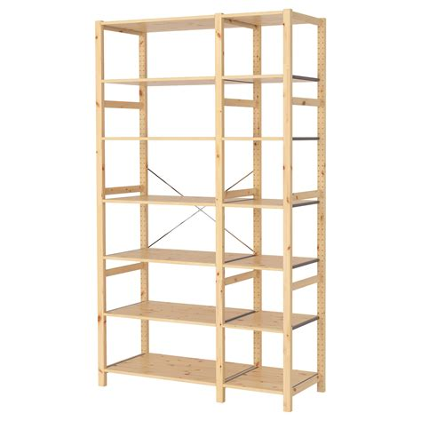 Ivar 2 Sections Shelves Pine 134x50x226 Cm Ikea Ikea Wood Shelves