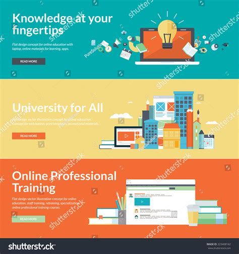 design online university flat design concepts online educationonline training stock